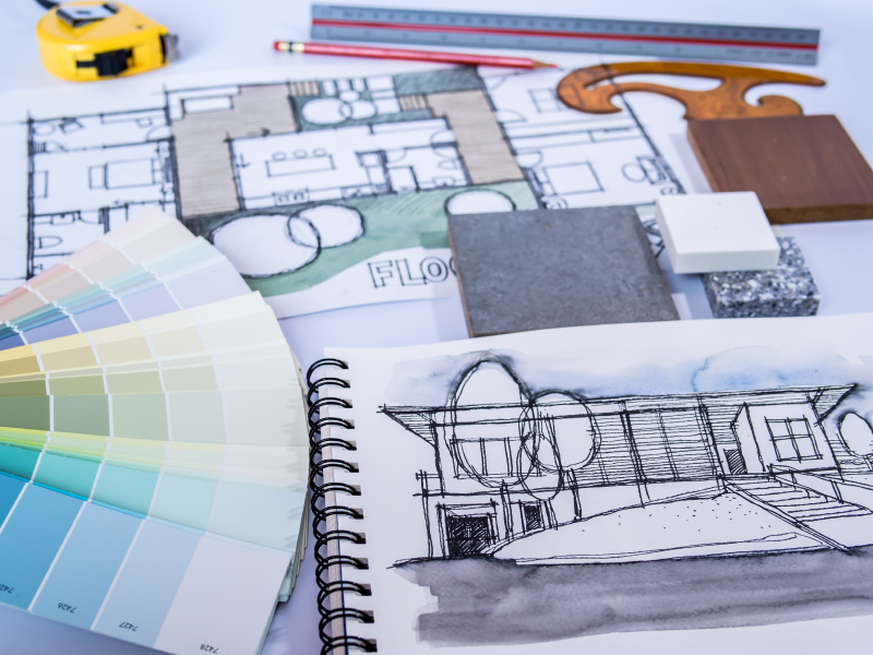 Architect /interior sketch drawing for new home renovation with